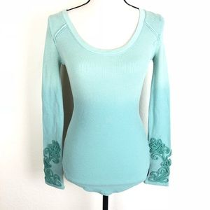Free People XS Ombré Embellished Sleeves Blue